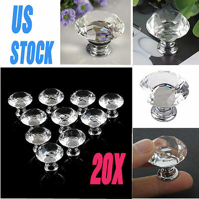 20Pcs Crystal Glass Cabinet Knob Diamond Shape Drawer Cupboard Handle Pull 30mm