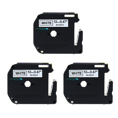 Black/White Compatible for Brother P-touch 12mm Label Tape MK231 PT65 M-K231 3PK