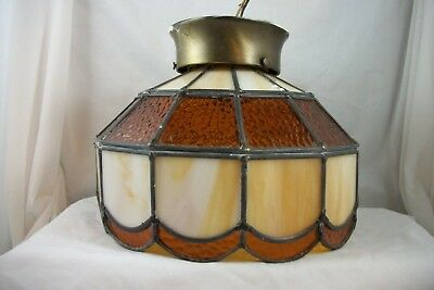 Vintage Stained Glass Flush Ceiling Light Fixture Antique Mission Chandelier Old