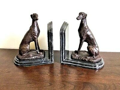 Pair Bronze Greyhounds On Marble Bookends19 cms high exquisite detailing