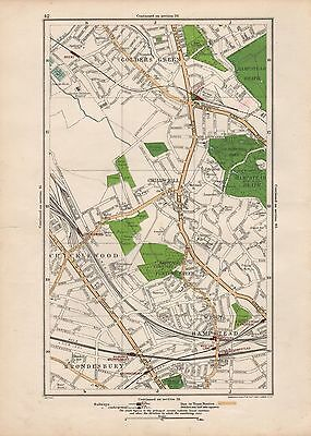 1923 London Street Map - Cricklewood,golders Green,child's Hill,brondesbury