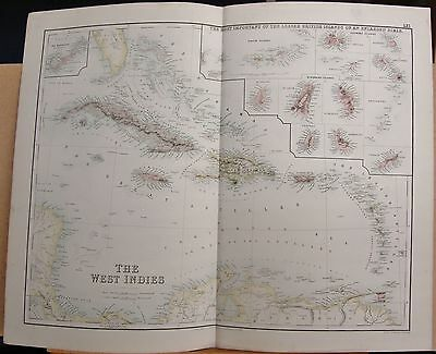 1874 Original Antique Large Fullarton Map-W Indies, Inset Lesser British Islands