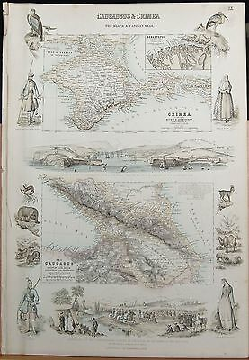 1874 Original Antique Fullarton Illustrated Map-Caucasus & Crimea