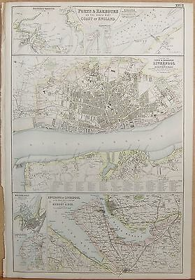 1874 Original Antique Fullarton Illus. Map-Ports,harbours England  North West