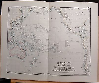 1874 Original Antique Large Fullarton Map- Oceania, Islands In The Pacific Ocean