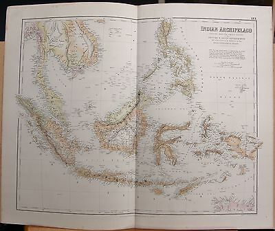 1874 Original Antique Large Fullarton Map-Indian Archipelago,borneo,sumatra,java