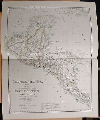 1874 Original Antique Large Fullarton Map- Cent. America, Mex. States, Honduras
