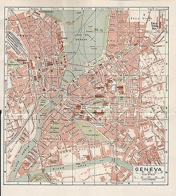 1923 Antique Town Plan-Switzerland- Geneva