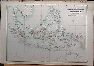 1874 Original Antique Fullarton Illus. Map-Dutch Possessions, Indian Archipelago