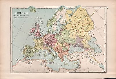 1875 Antique Map - Europe In The Middle Of The 16Th Century (Reformation)