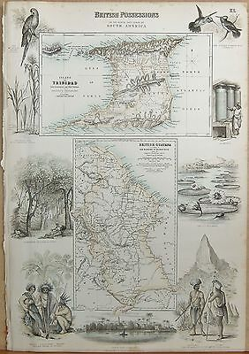 1874 Original Antique Fullarton Illustrated Map-British Possessions In S.america