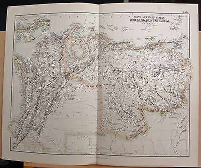 1874 Original Antique Large Fullarton Map- S. American States, New Granada,