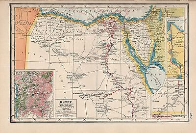 1920 Map -Post Ww1- Egypt, Inset Cairo,suez Canal