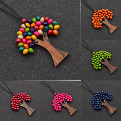 New Tree of Life Beaded Necklace Wooden Pendant 70-80cm Adjustable Cord Jewelry