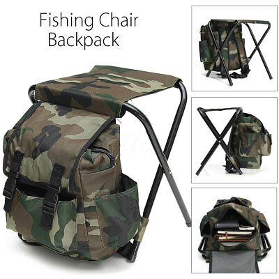 2 in 1 Outdoor Fishing Tackle Backpack Bag Camping Foldable Stool Seat Chair Set
