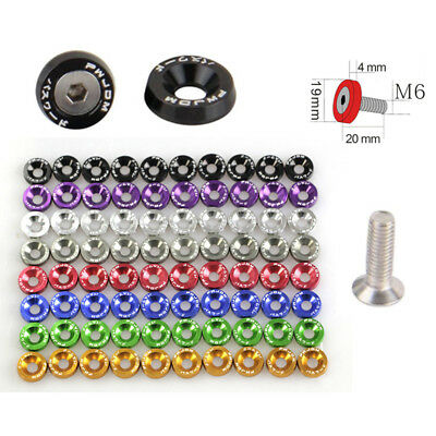 10pcs Car Styling Universal Anodized Aluminum Fender Washers M6x20 Steel Bolts