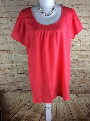 Motherhood Maternity Blouse Top Size L Coral Pink Short Sleeve Career