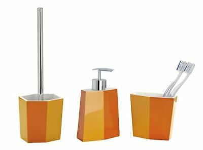 3tlg WENKO BAD SET BiColor orange WC-GARNITUR SEIFENSPENDER ZAHNPUTZBECHER