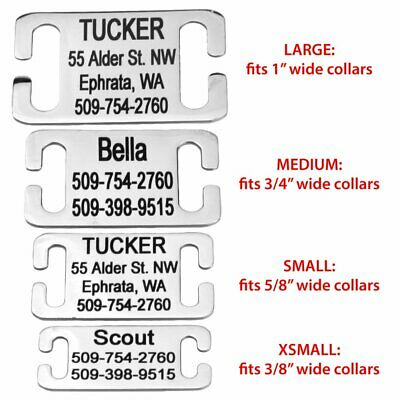 Stainless Steel Slide-On Pet ID Tags Dog Tags Personalized Engraving