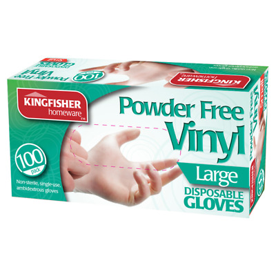 100 Pc Large Powder Free Vinyl Clear Disposable Gloves Multi Work Hand Care