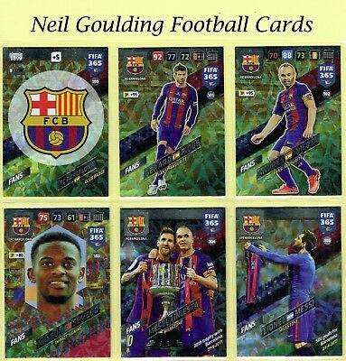Panini FIFA 365 2018 ☆ BARCELONA ☆ Fans & Team Mate Football Cards #100 to #117
