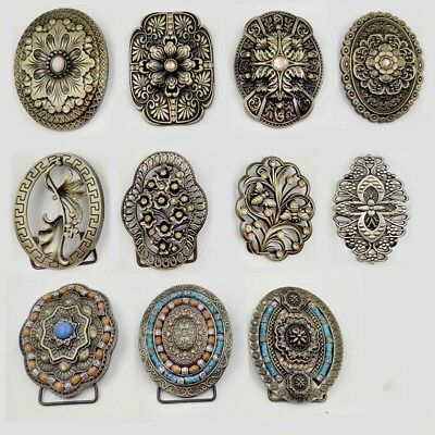 1 X Vintage Alloy Belt Buckle 3D Flower Style Pattern Western Rodeo Cowboy Oval