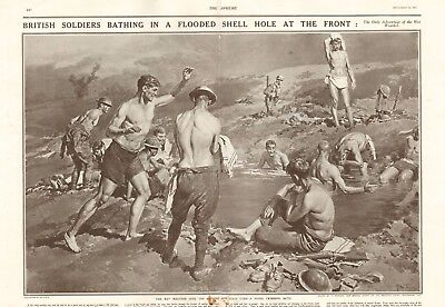1917 Antique Print - Ww1 - British Soldiers Bathing In Shell Hole At The Front