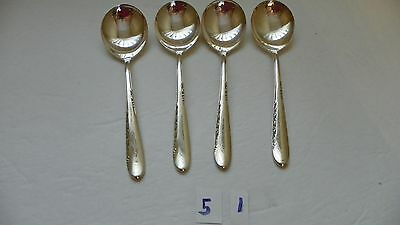 Set Of 4  Reed & Barton 1955  Silver Blossom Gumbo Soup Spoons  Silverplate