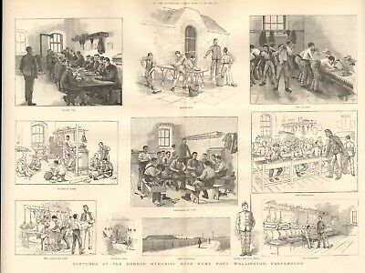 1888 Antique Print -  Sketches At Gordon Memorial Boys Home, Portsmouth