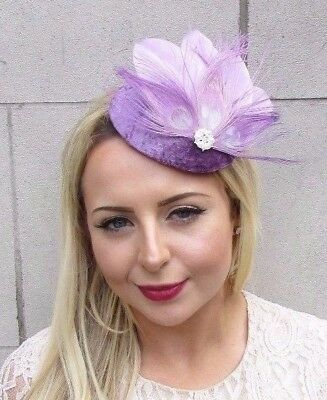 Lavender Light Purple Feather Fascinator Pillbox Hat Races Hair Clip Lilac 3807