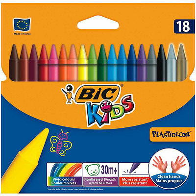 BIC Kids Plastidecor Colouring Crayons, Pack of 18