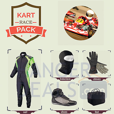Go Kart Race suit (includes Suit, Gloves, Balaclava & Shoes) free bag- any color