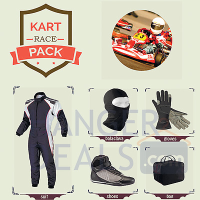 Go Kart Race suit (includes Suit, Gloves, Balaclava & Shoes)free bag- any colour