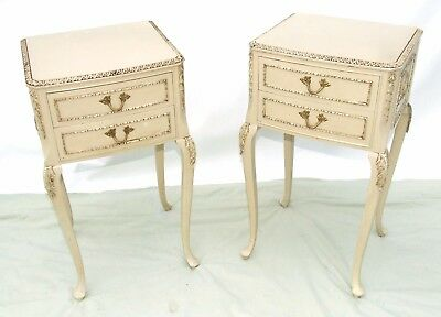 PAIR Shabby Chic Bedside Cabinets Lamp Stands Side Tables Distressed Finish