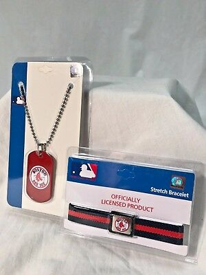 *PRICE SPECIAL* MLB Boston Red Sox Dog Tag & Stretch Bracelet Wearable 2-Pc Set