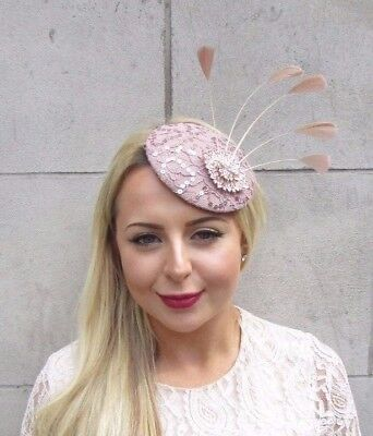 Nude Pink Rose Gold Feather Pillbox Hat Fascinator Hair Clip Races Wedding 3810