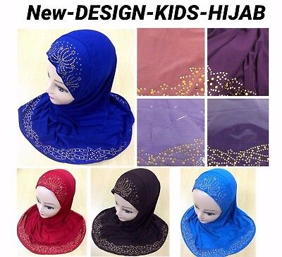 Muslim Girls Hijab Islamic Headscarf Design Glass Work Hijab Scarf Wrap Uk P&p