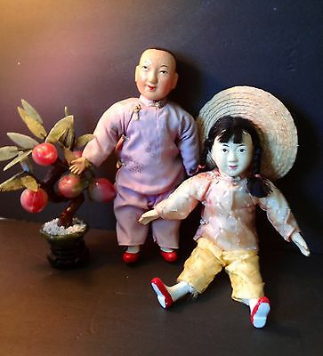 "2 - 12"" Vintage Dolls Asian Chinese Japanese Composition Gofun Cloth Man, Woman"
