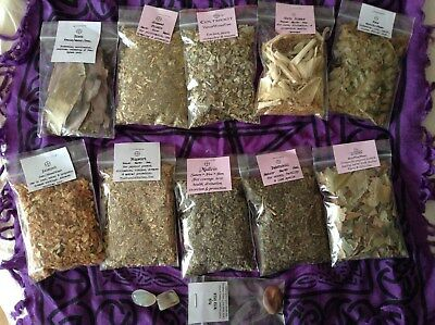 HERB LOT S117b Rowan Patchouli Mullein Mugwort Colstfoot Moonstone Wicca Pagan