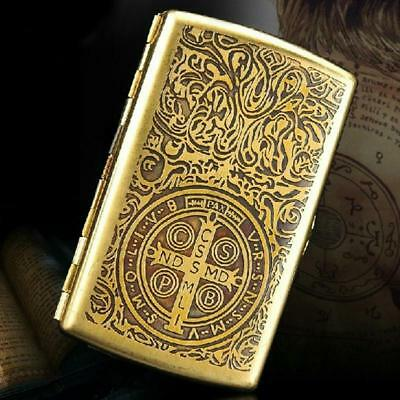 Vintage Cigarette S Case With Gift Box For 12Pcs Copper Antique Carving Pattern