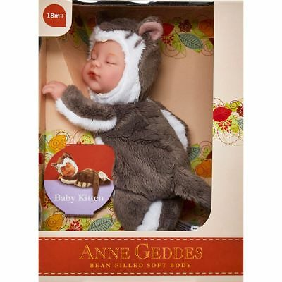 ANNE GEDDES 'Baby Kitten' Filled Soft Doll Grey and White - New in Box