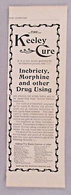 Leslie E. Keeley Cure PRINT AD - 1896 ~~ morphine drug use cure