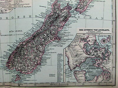 New Zealand Auckland Tasmania Van Diemen's Land Australia 1891 Stieler old map