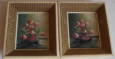 Pair of Small Old Miniature Still Life Flower Oil Painting