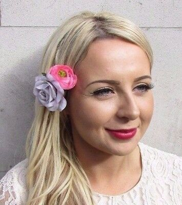 Lilac Purple Pink Double Rose Flower Hair Clip Fascinator Bridesmaid Floral 3821