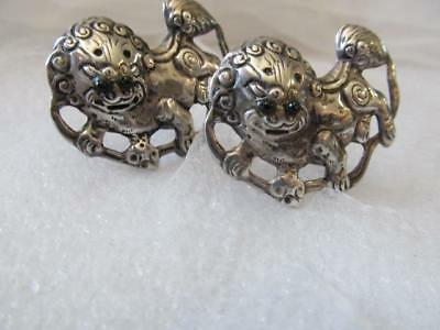 Vintage Old Chinese Asian Foo Dog Fu Dog Sterling Silver Clip Earrings