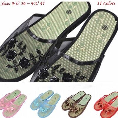 Lady Slippers Sheer Mesh Beads Sequin Floral Flat Indoor Shoes Scuffs Household
