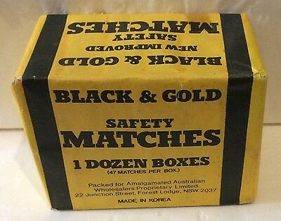Black & Gold Matchboxes. 12 Boxes Still In The Original Packaging.
