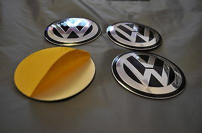 SET of 4 metal ALLOY WHEELS SELF STICKERS CENTER CAPS  - MANY SIZES VW