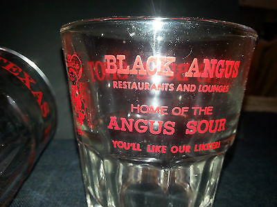 Lot of 3 Black Angus Restaurants & Lounges Texas Bull Shot  Glasses
